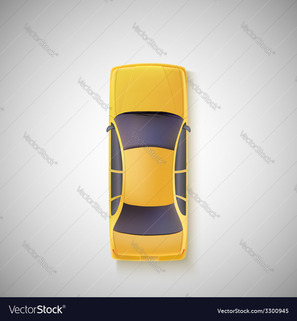 Yellow car taxi top view vector | Price: 1 Credit (USD $1)