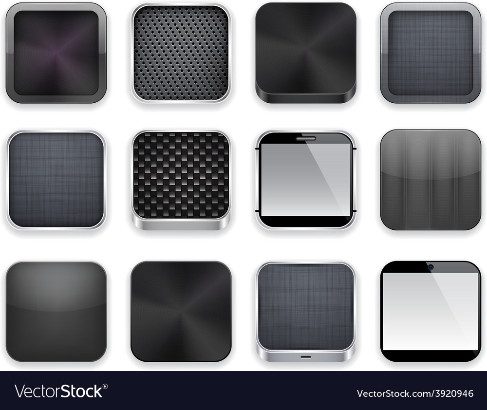 Black app icons vector | Price: 1 Credit (USD $1)