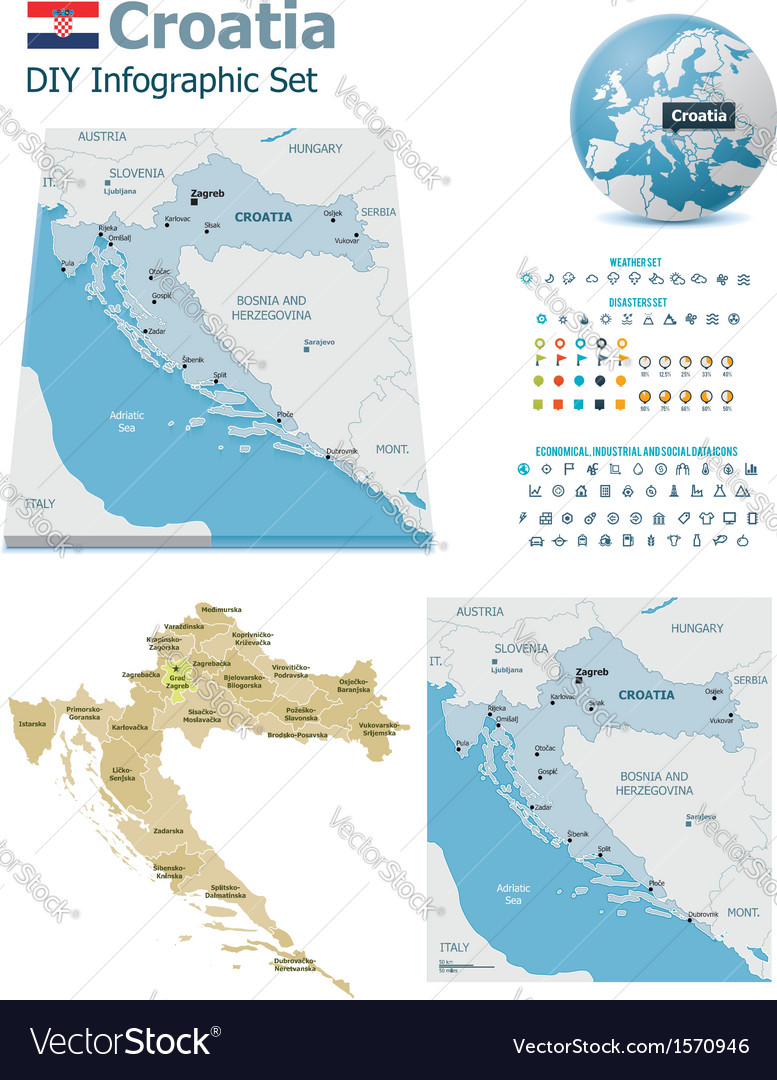Croatia maps with markers vector | Price: 1 Credit (USD $1)