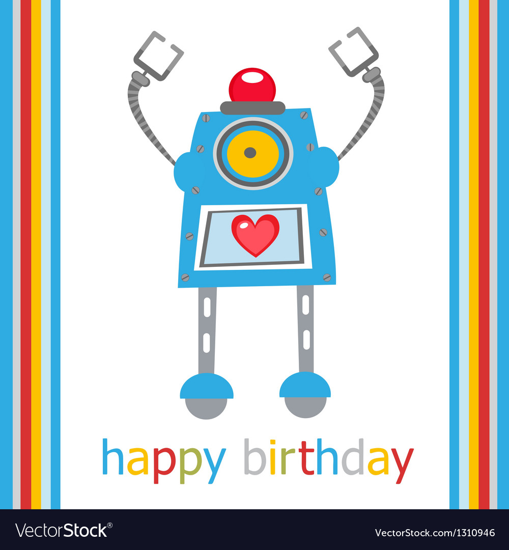 Cute birthday robot vector | Price: 1 Credit (USD $1)