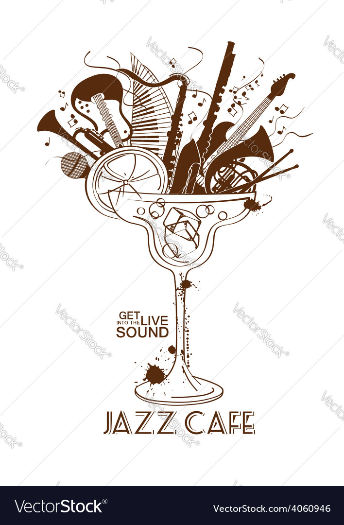 Jazz cafe concept with musical instruments in a vector | Price: 1 Credit (USD $1)