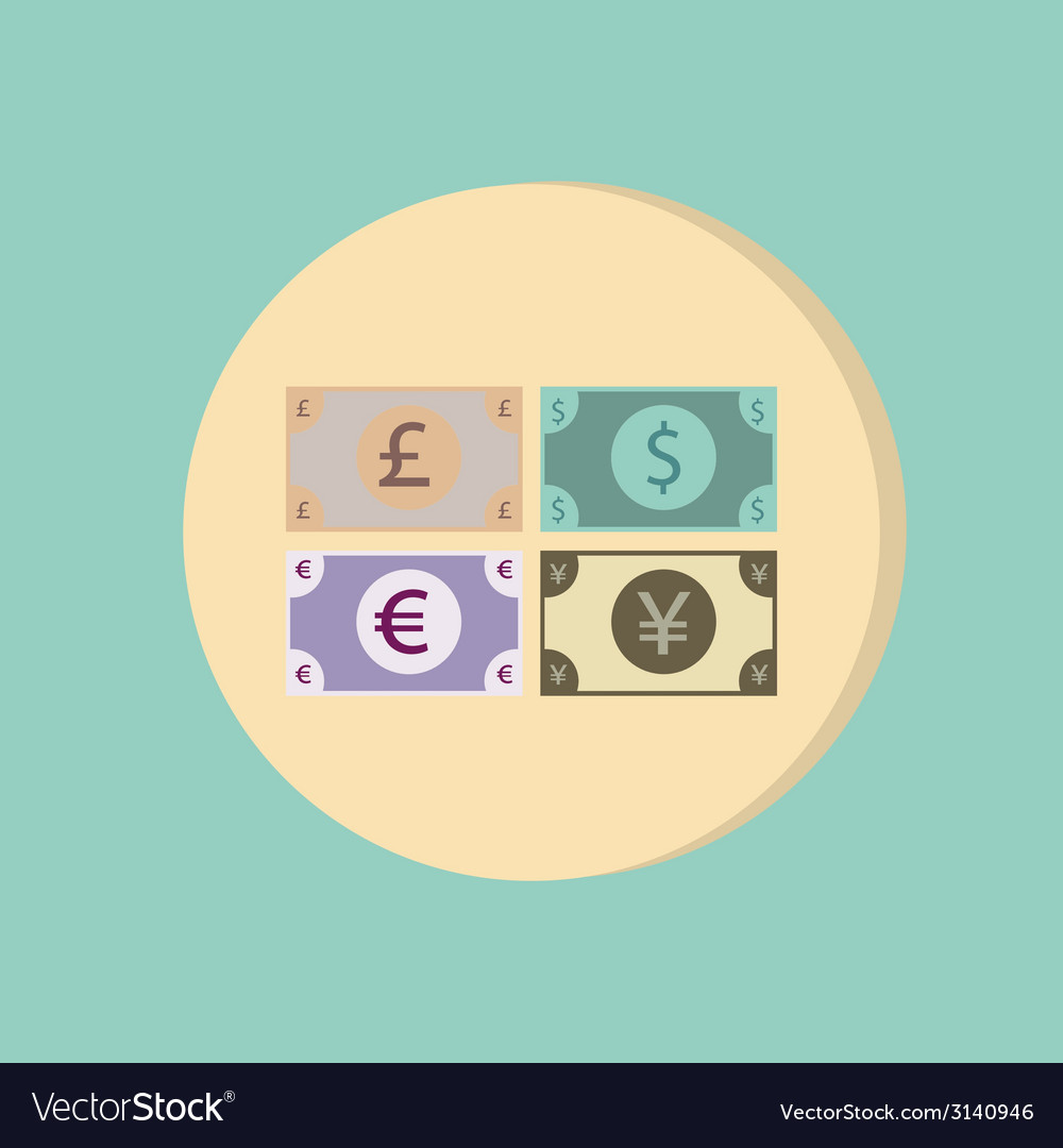 Money bill symbol icon dollar pound sterling vector | Price: 1 Credit (USD $1)