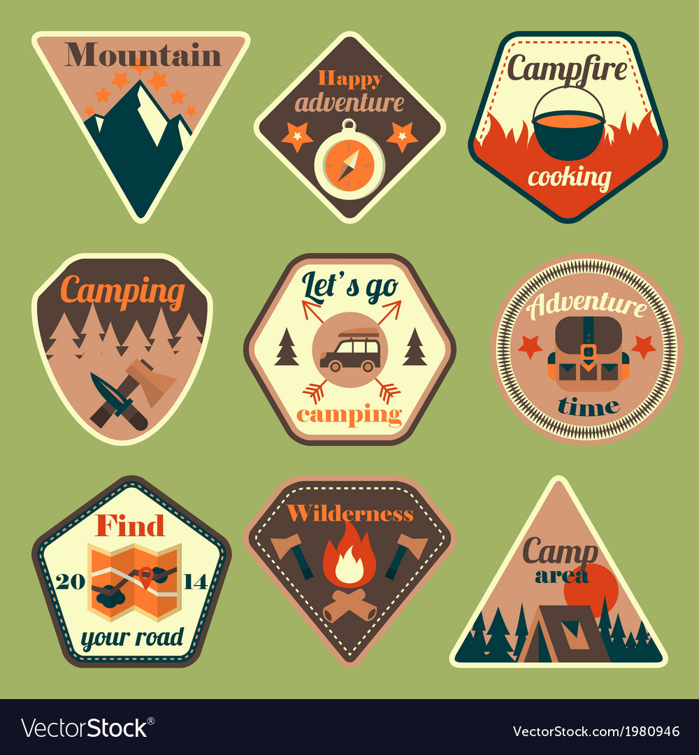 Outdoors tourism camping flat badges set vector | Price: 1 Credit (USD $1)