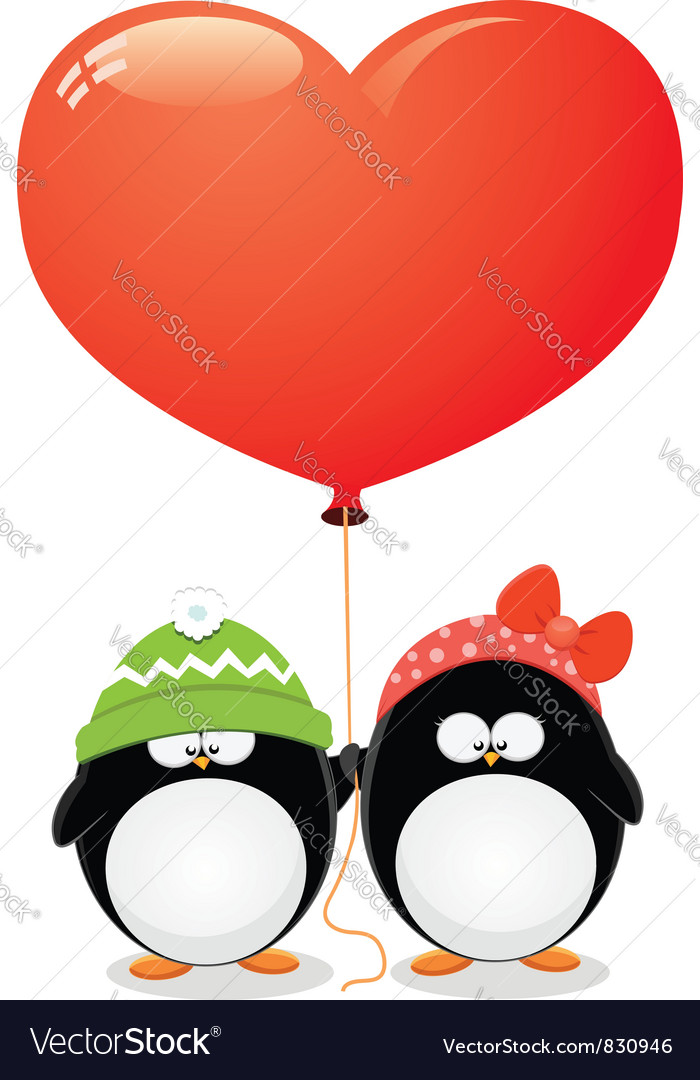 Penguin love vector | Price: 3 Credit (USD $3)