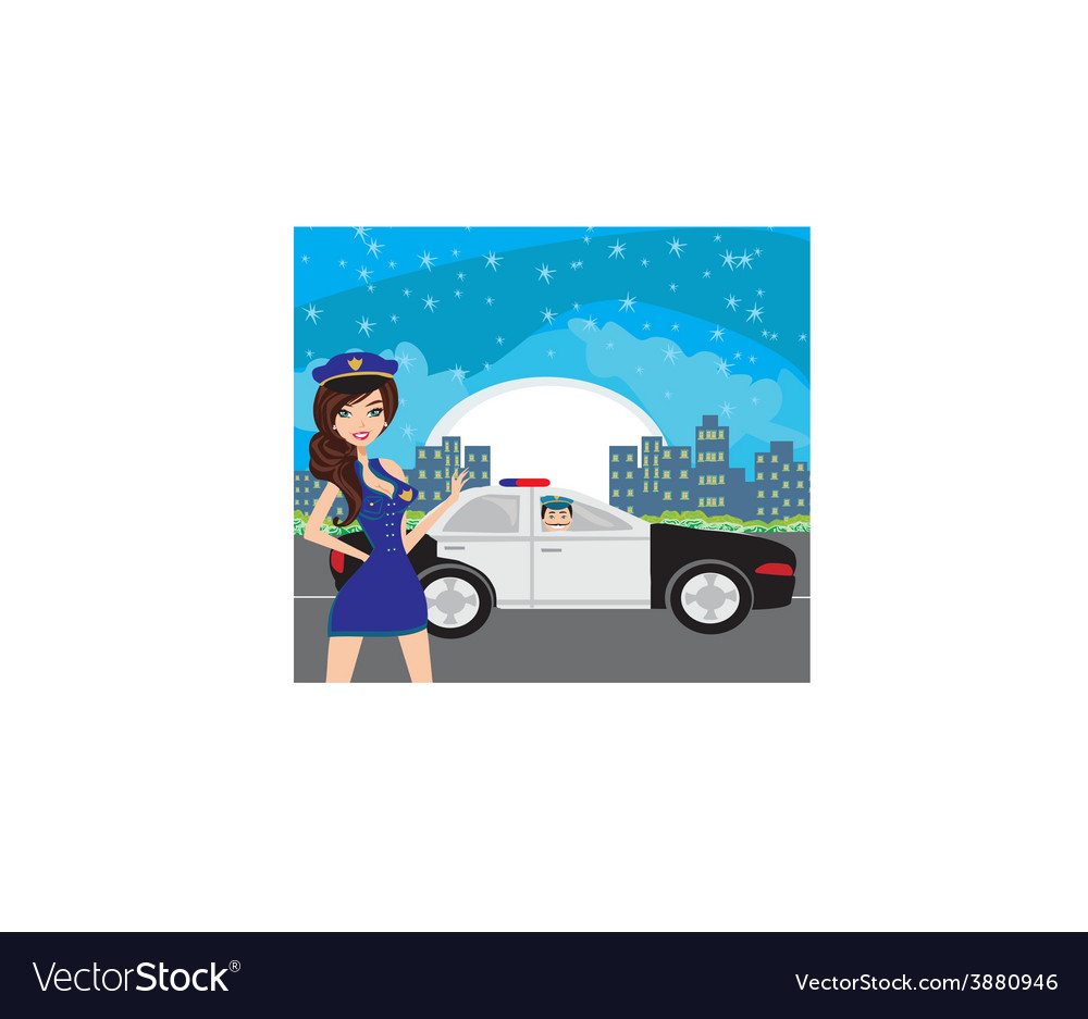 Police patrol at night vector | Price: 1 Credit (USD $1)