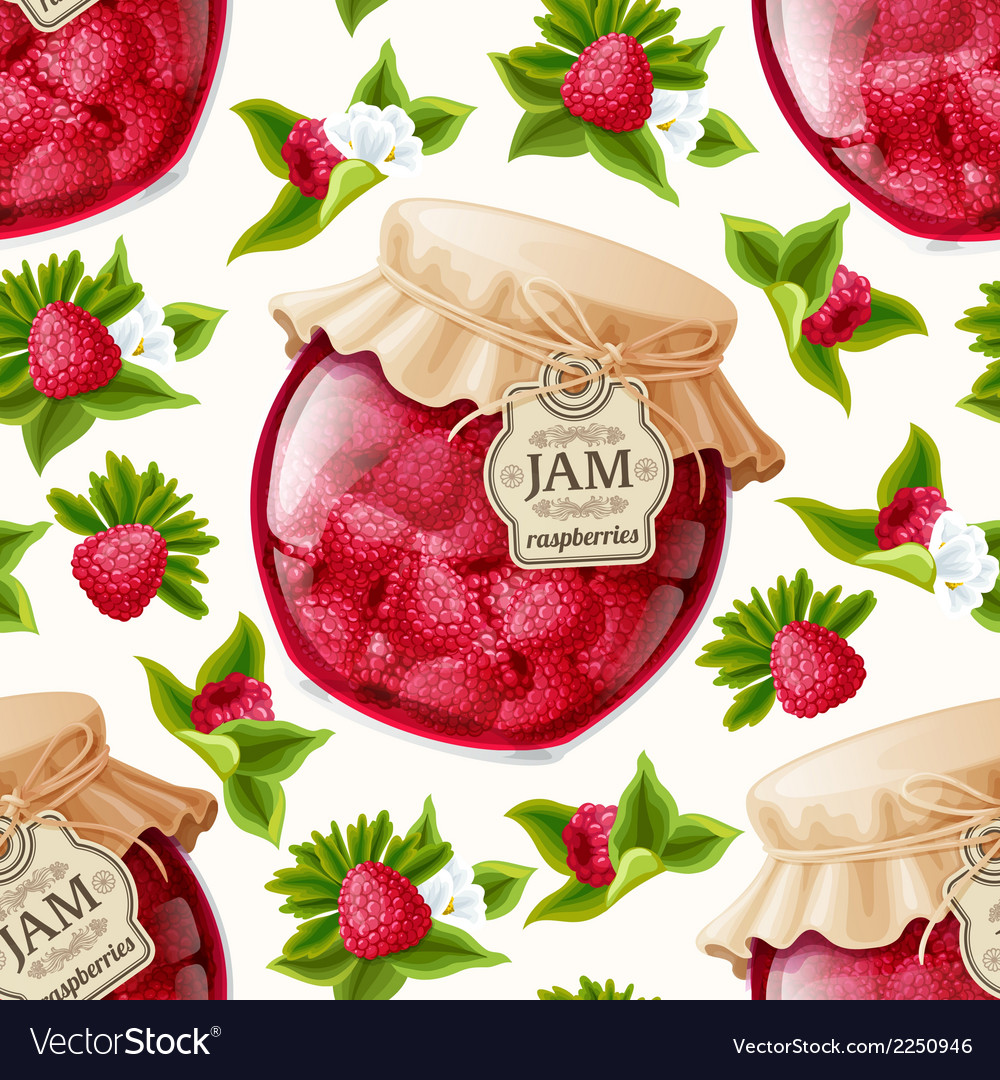 Raspberry jam seamless pattern vector | Price: 1 Credit (USD $1)
