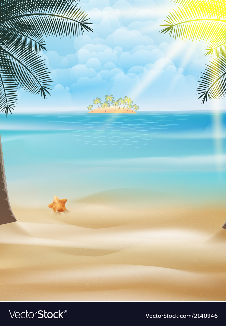 Starfish and palm trees on the beach vector | Price: 1 Credit (USD $1)