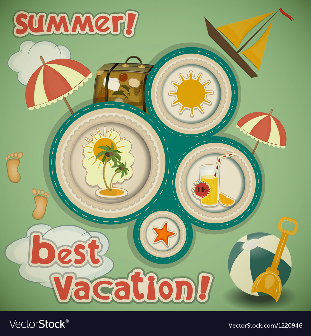 Summer vacation travel card vector | Price: 3 Credit (USD $3)
