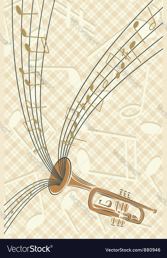 Trumpet with musics vector | Price: 1 Credit (USD $1)