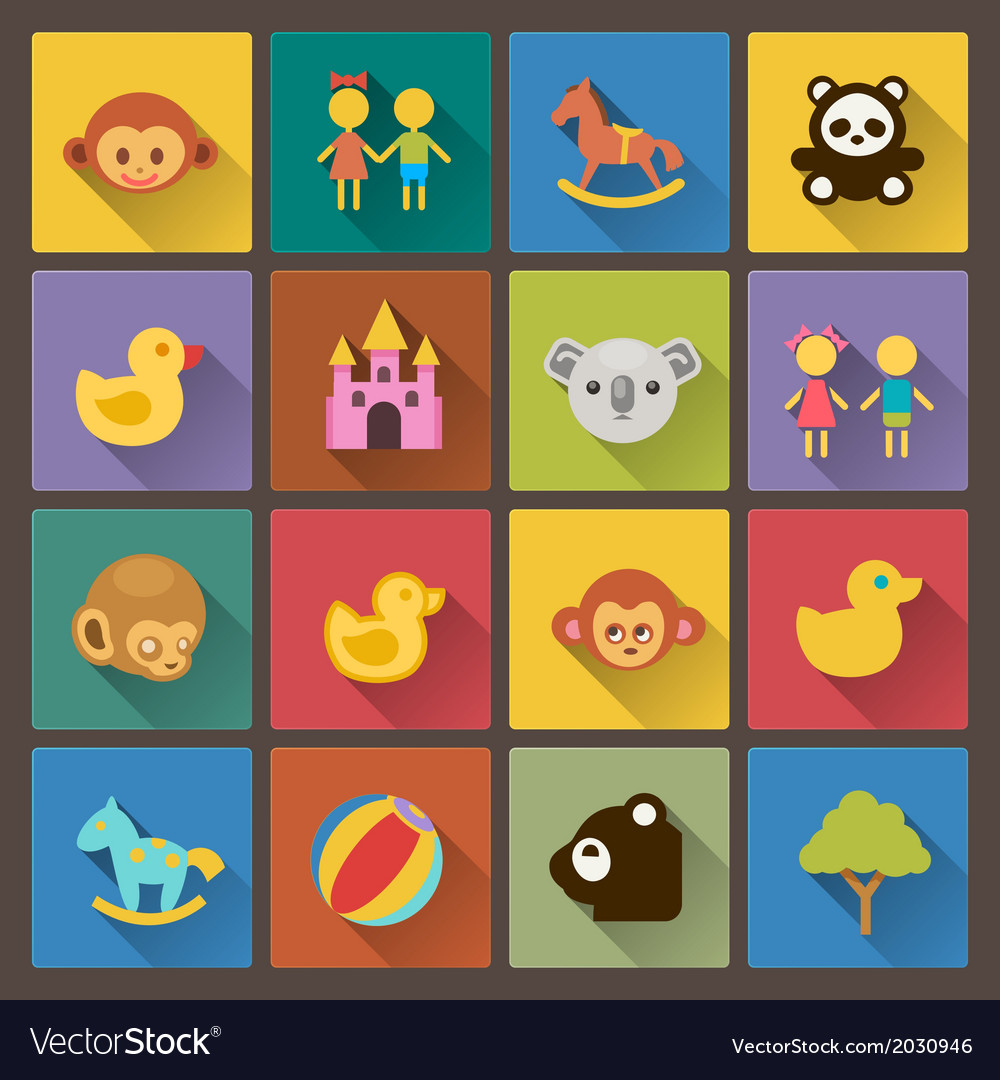 Zoo and animals icons in flat design style vector | Price: 1 Credit (USD $1)