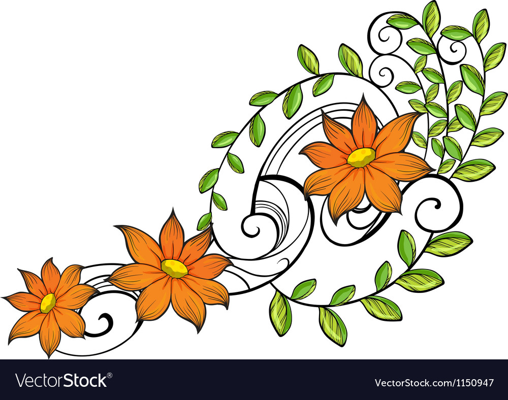 A border made of vine flowers vector | Price: 1 Credit (USD $1)