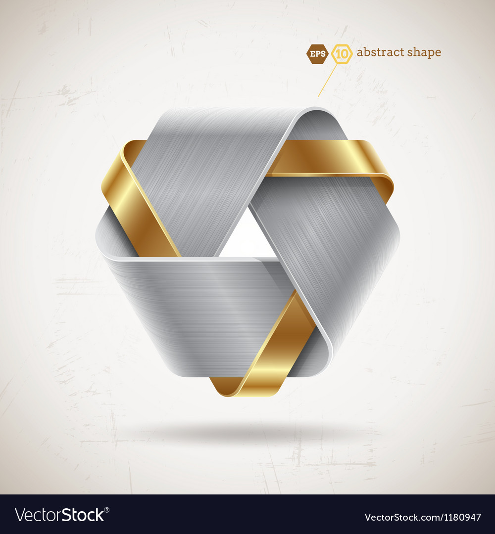 Abstract metal shape with steel and gold elements vector | Price: 1 Credit (USD $1)