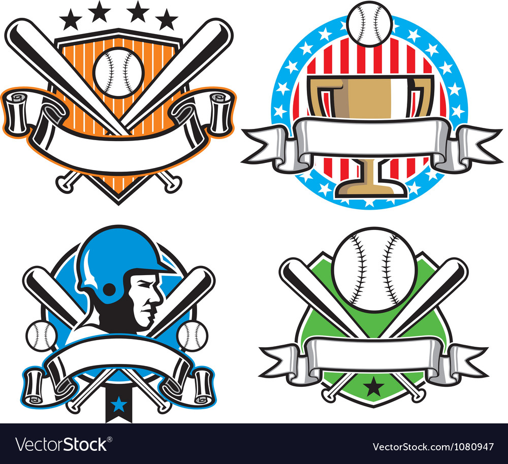 Baseball emblem set vector | Price: 3 Credit (USD $3)