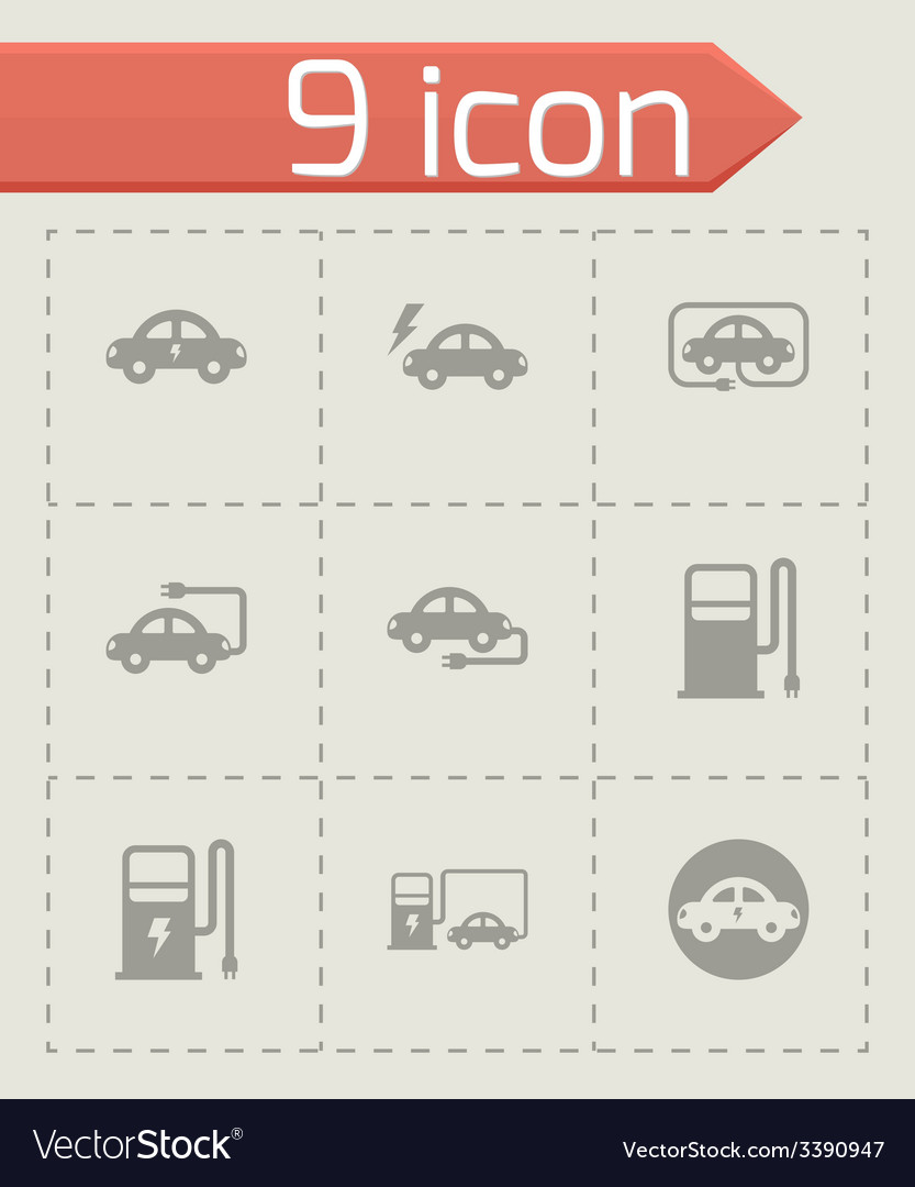 Black electric icon set vector | Price: 1 Credit (USD $1)