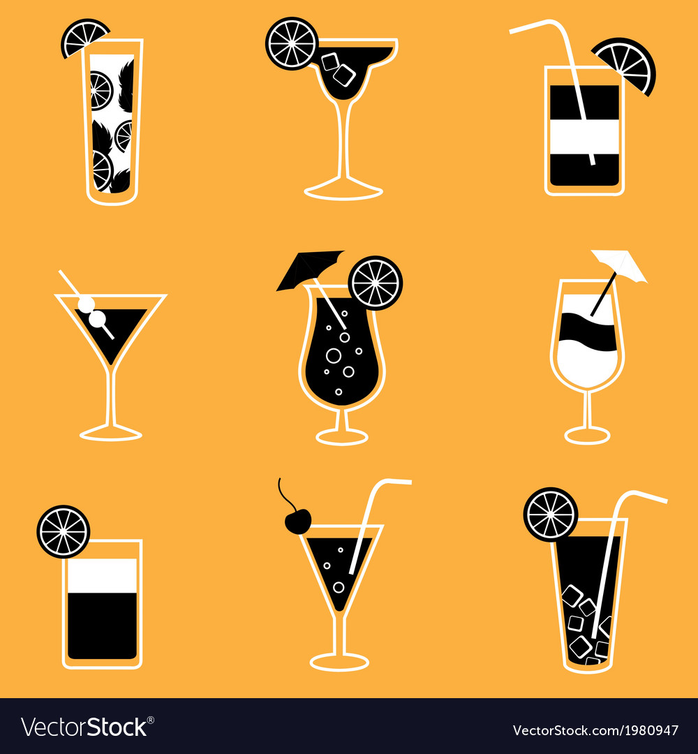 Collection of party cocktails with alcohol vector | Price: 1 Credit (USD $1)