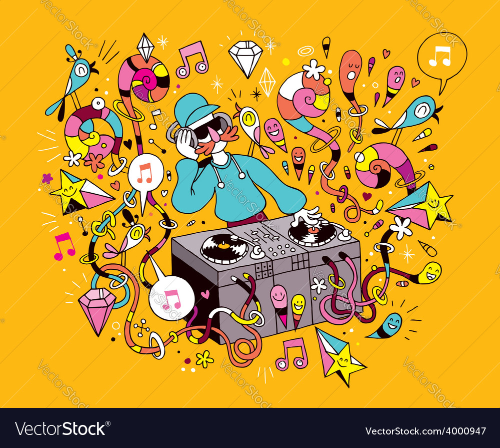 Dj playing mixing music on vinyl turntable cartoon vector | Price: 1 Credit (USD $1)