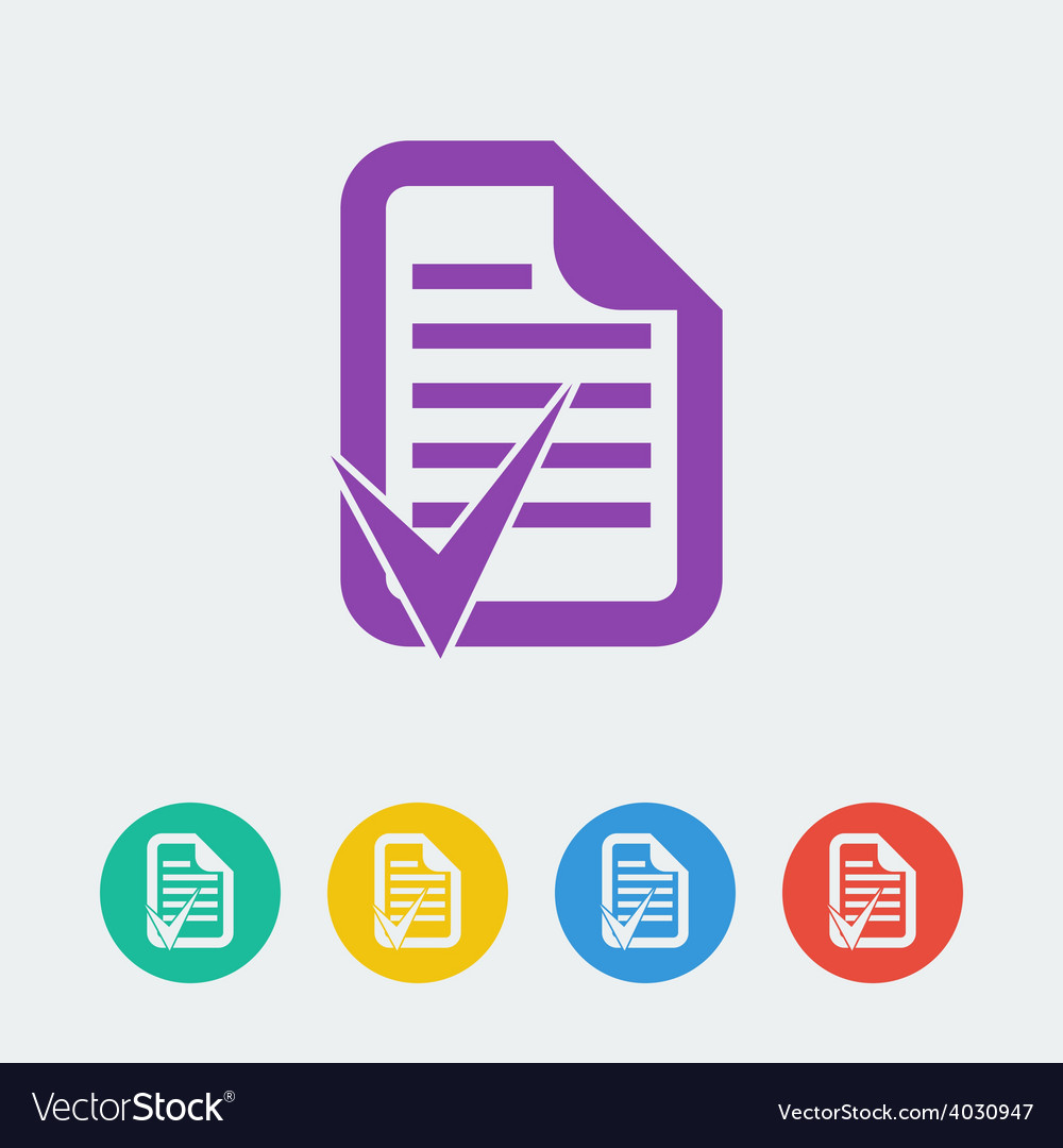 Document accept flat circle icon vector | Price: 1 Credit (USD $1)