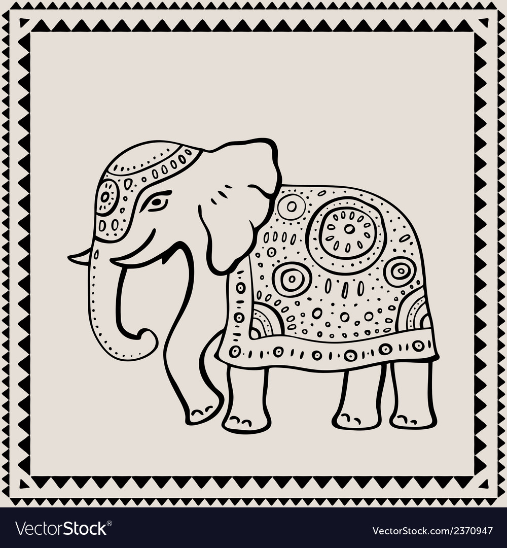 Ethnic elephant indian style vector | Price: 1 Credit (USD $1)