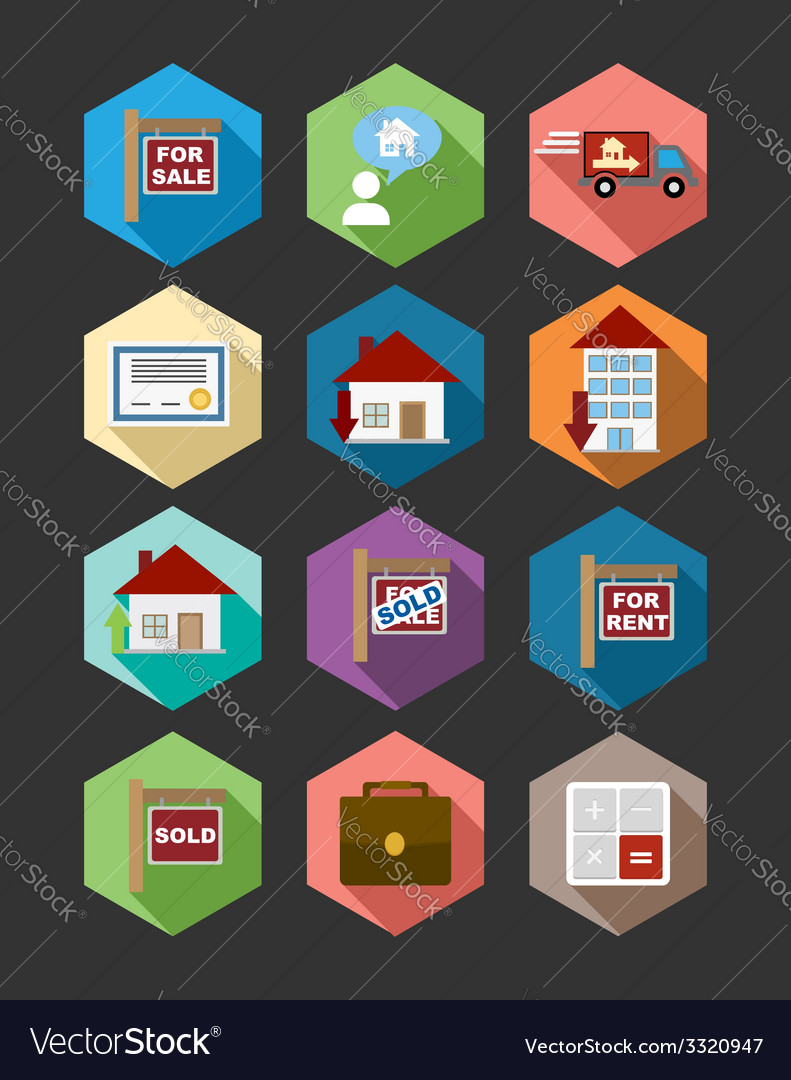 Real estate flat icons set vector | Price: 1 Credit (USD $1)