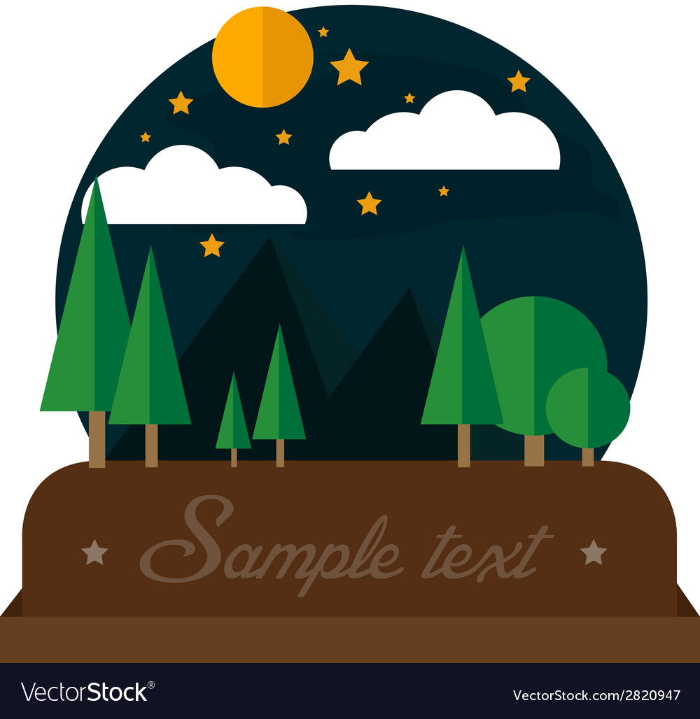 Summer night camping landscape vector | Price: 1 Credit (USD $1)