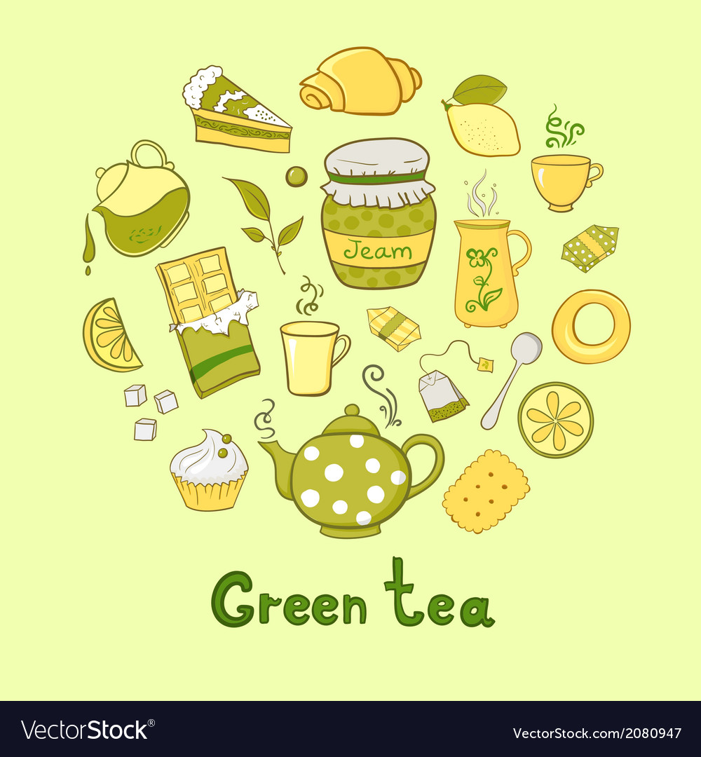 Tea and sweets icons set vector | Price: 1 Credit (USD $1)