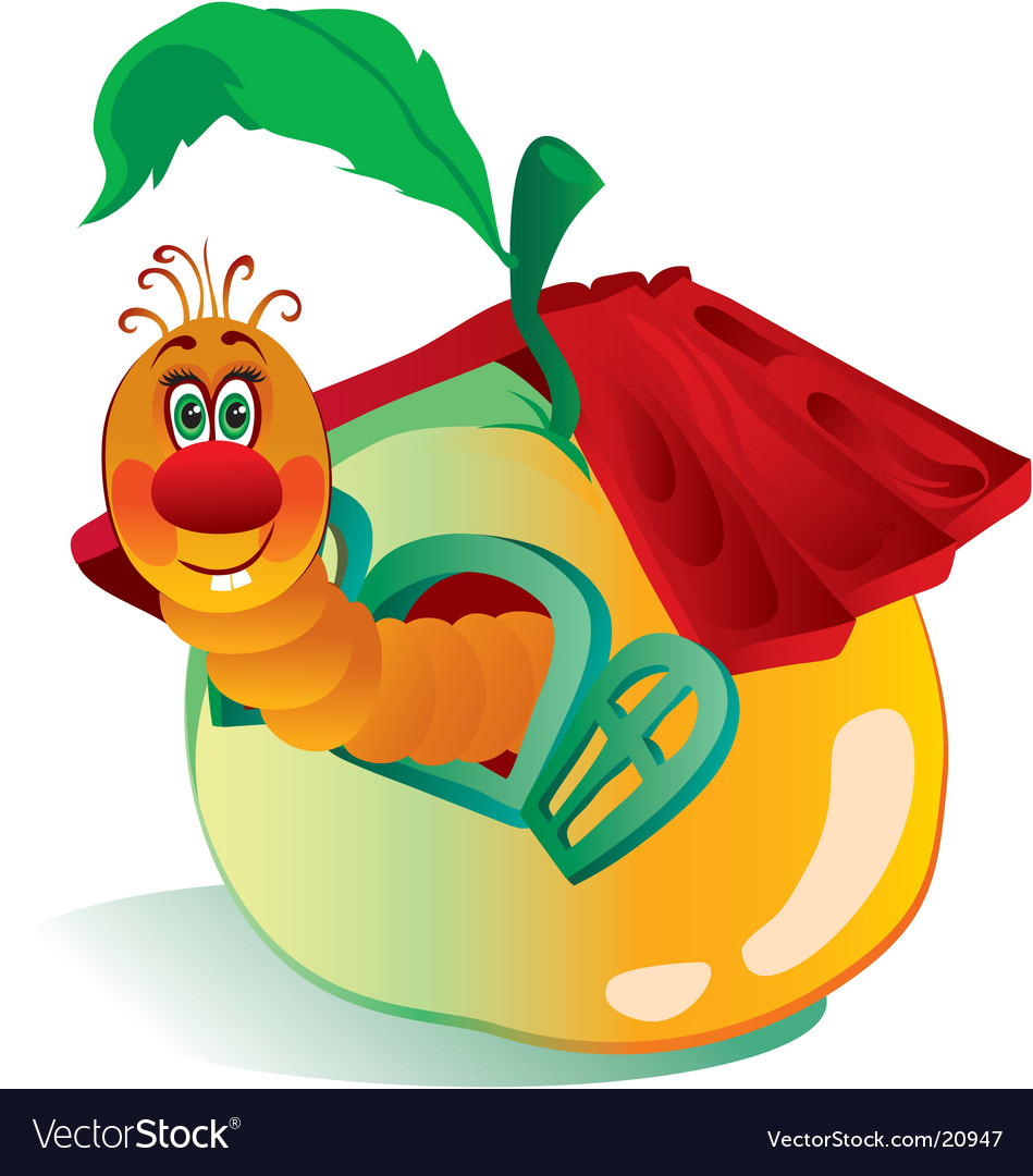 Worm in an apple vector | Price: 3 Credit (USD $3)