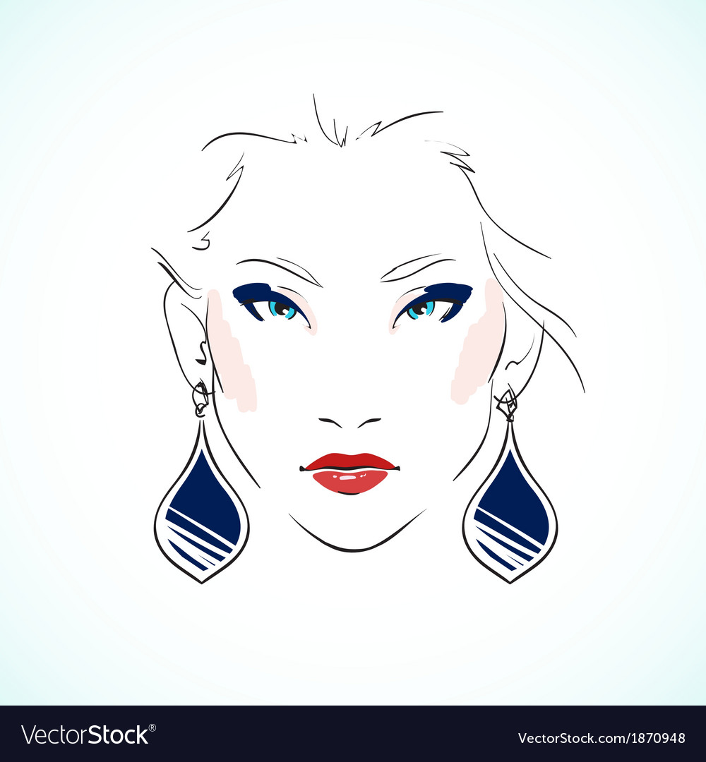 Elegant young model face vector | Price: 1 Credit (USD $1)
