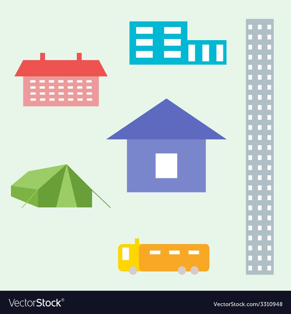 House shelter tent trailer skyscraper vector | Price: 1 Credit (USD $1)