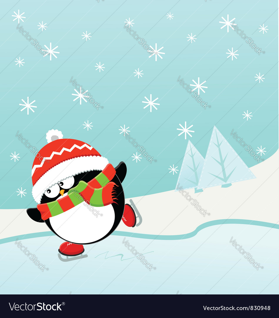 Ice skating penguin vector | Price: 3 Credit (USD $3)