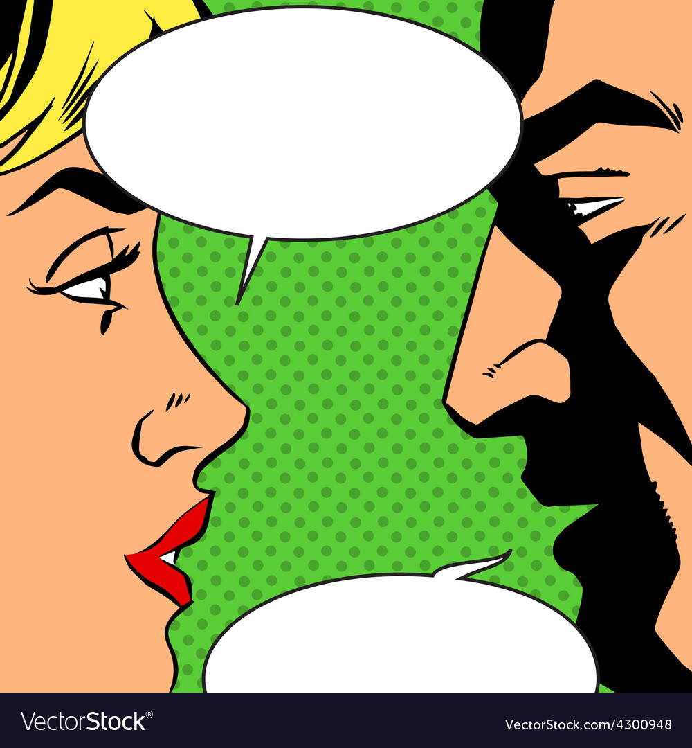 Man and woman talking comics retro style vector | Price: 1 Credit (USD $1)