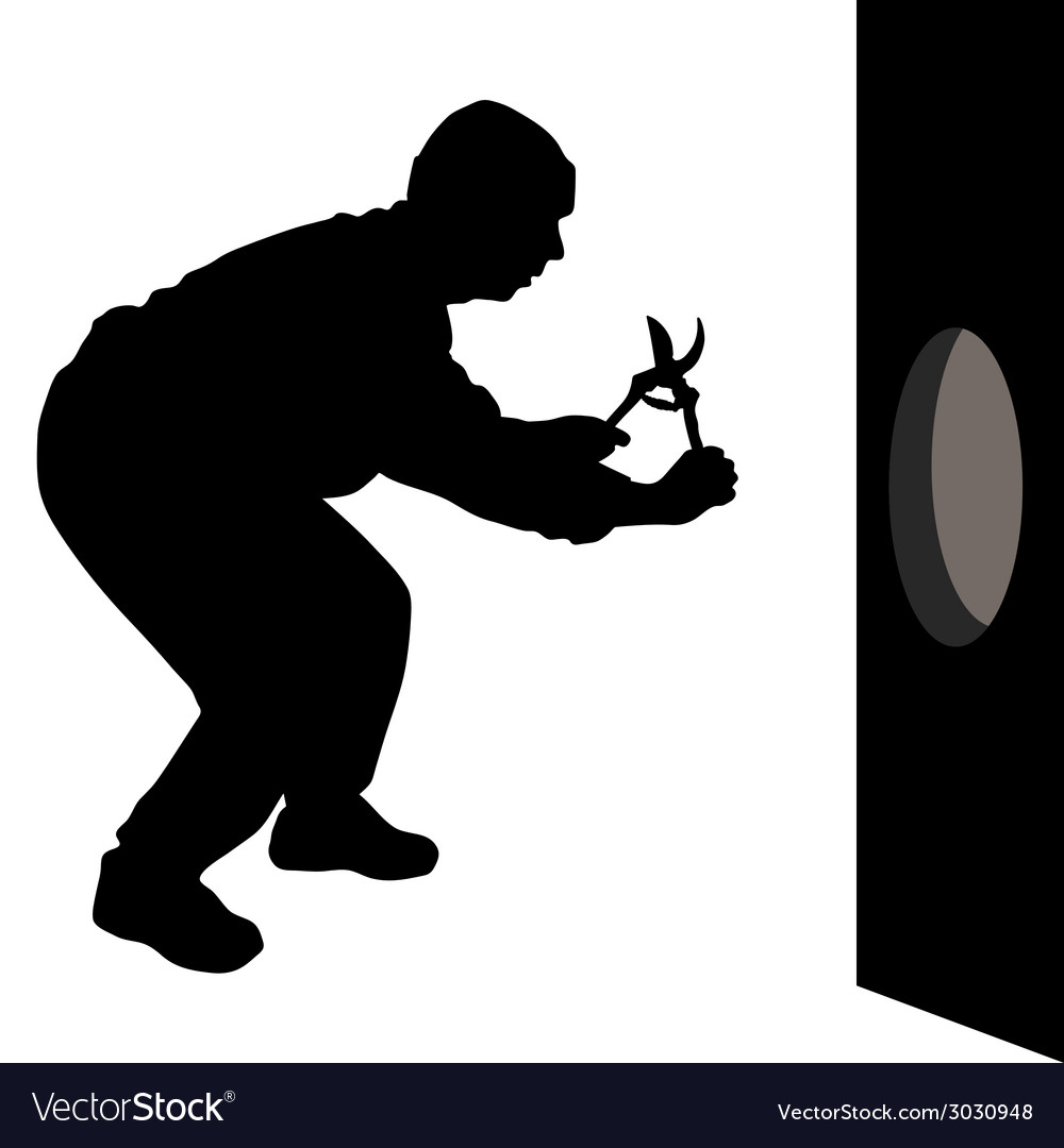 Man with scissors is going to the hole in the wall vector | Price: 1 Credit (USD $1)