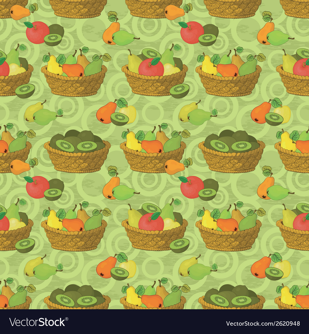 Seamless pattern baskets and fruits vector | Price: 1 Credit (USD $1)