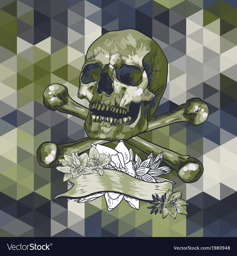Skull with a ribbon on geometric background vector | Price: 1 Credit (USD $1)