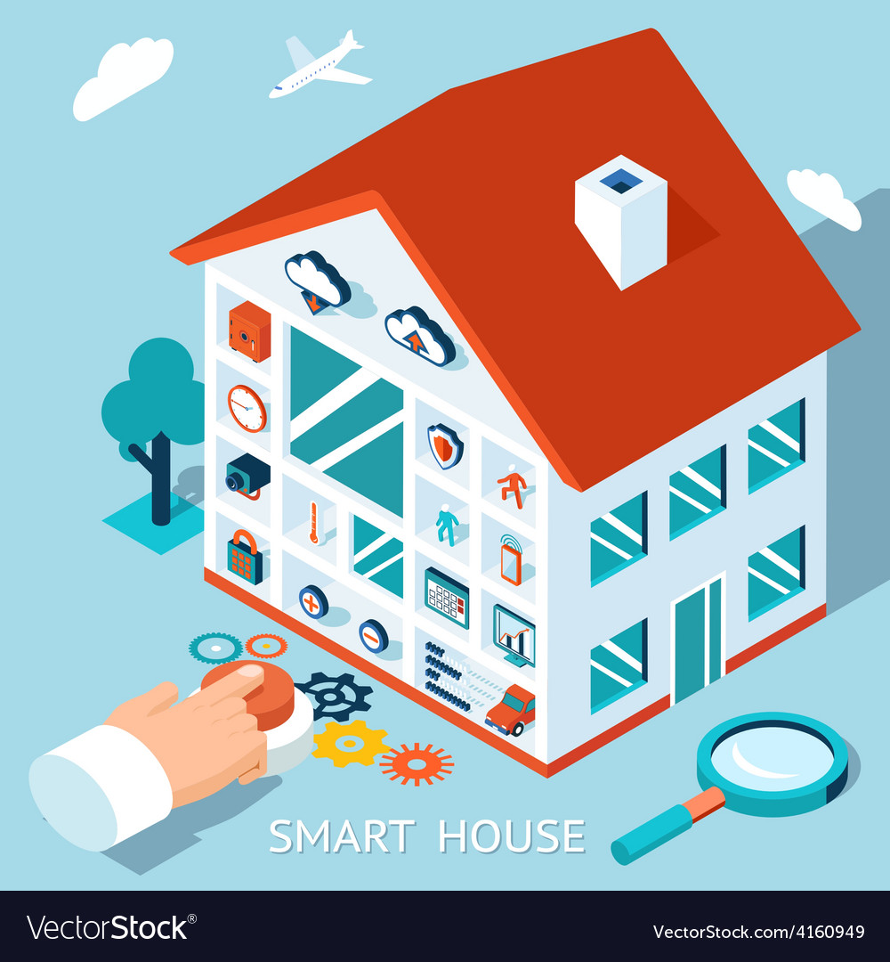 3d smart home concept house control button vector | Price: 1 Credit (USD $1)
