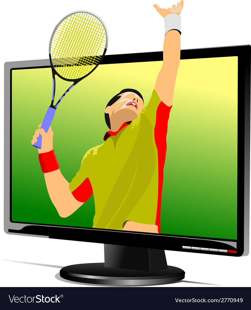 Al 0839 monitor and tennis vector | Price: 1 Credit (USD $1)