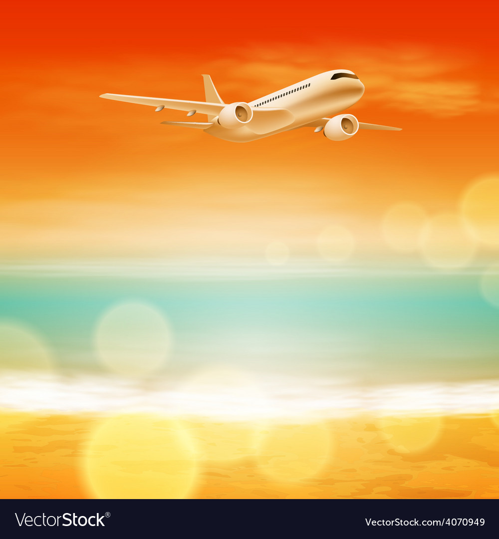 Background with sea and airplane in the sky vector | Price: 3 Credit (USD $3)