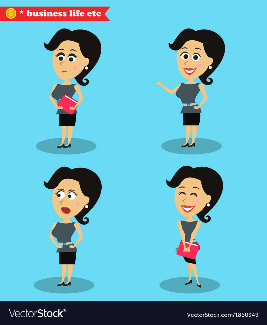 Clever office girl standing set vector | Price: 1 Credit (USD $1)