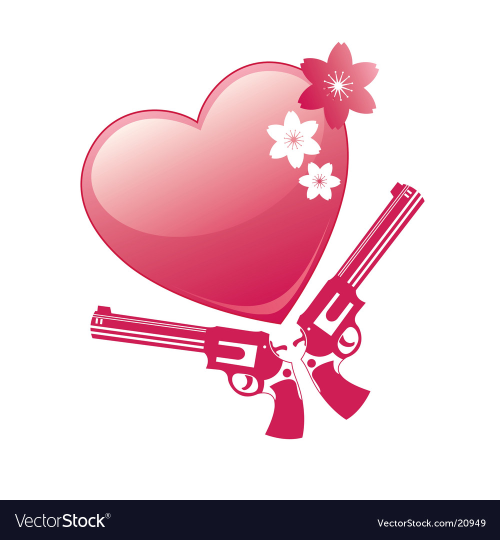 Heart and revolver vector | Price: 1 Credit (USD $1)
