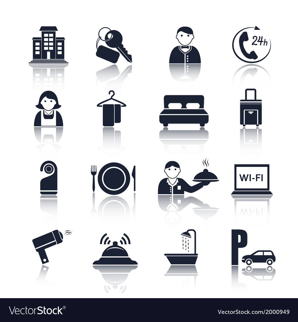 Hotel travel pictograms set vector | Price: 1 Credit (USD $1)