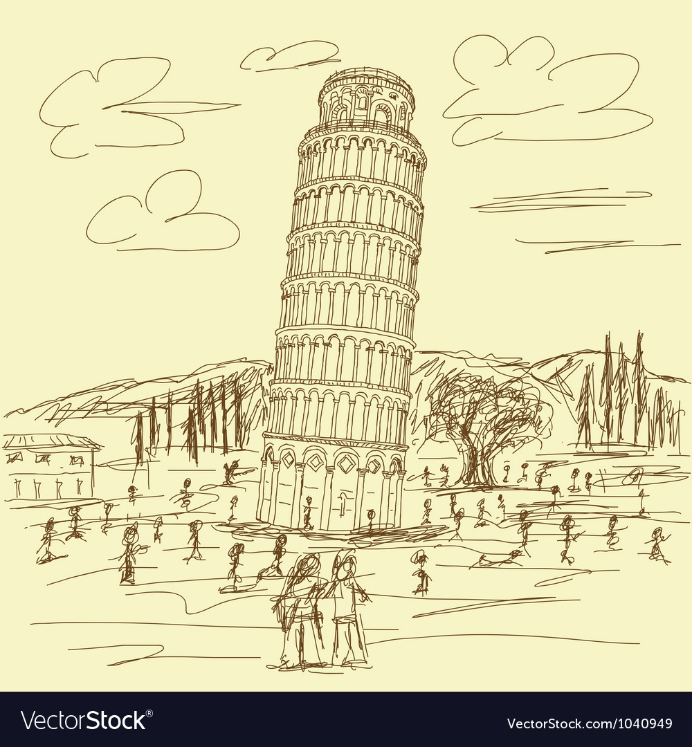 Leaning tower of pisa vintage vector | Price: 1 Credit (USD $1)