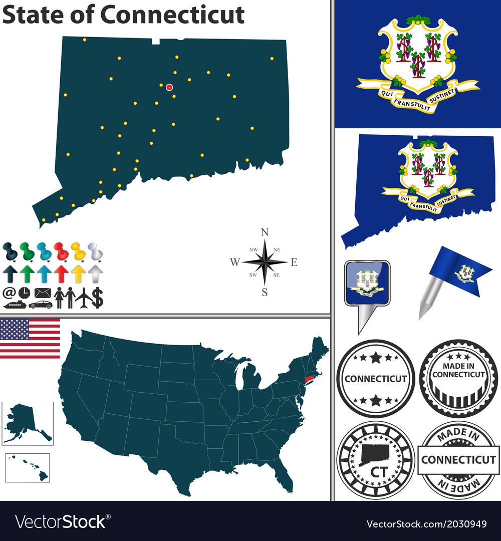 Map of connecticut vector | Price: 1 Credit (USD $1)