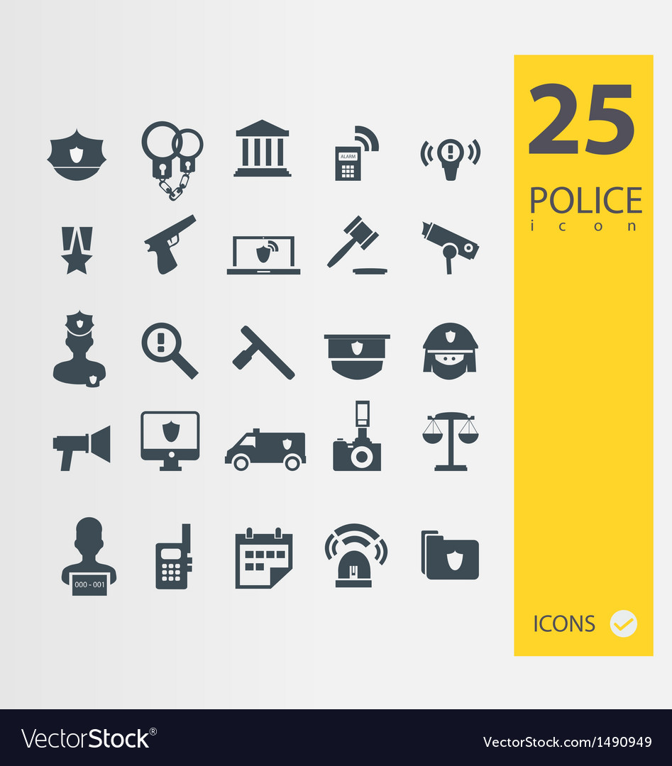 Police icons set vector | Price: 1 Credit (USD $1)