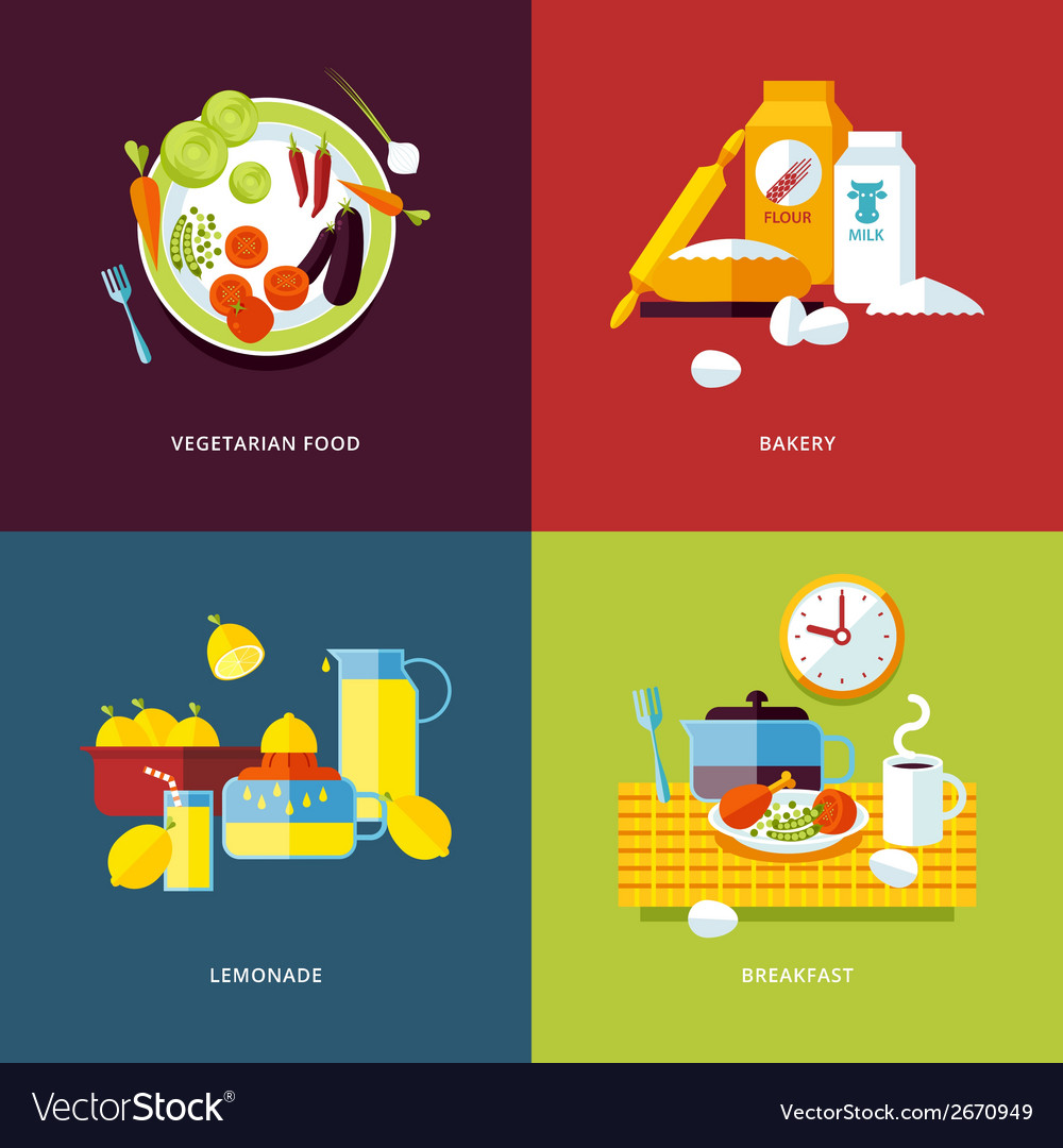 Set of flat design concept icons for food and vector | Price: 1 Credit (USD $1)