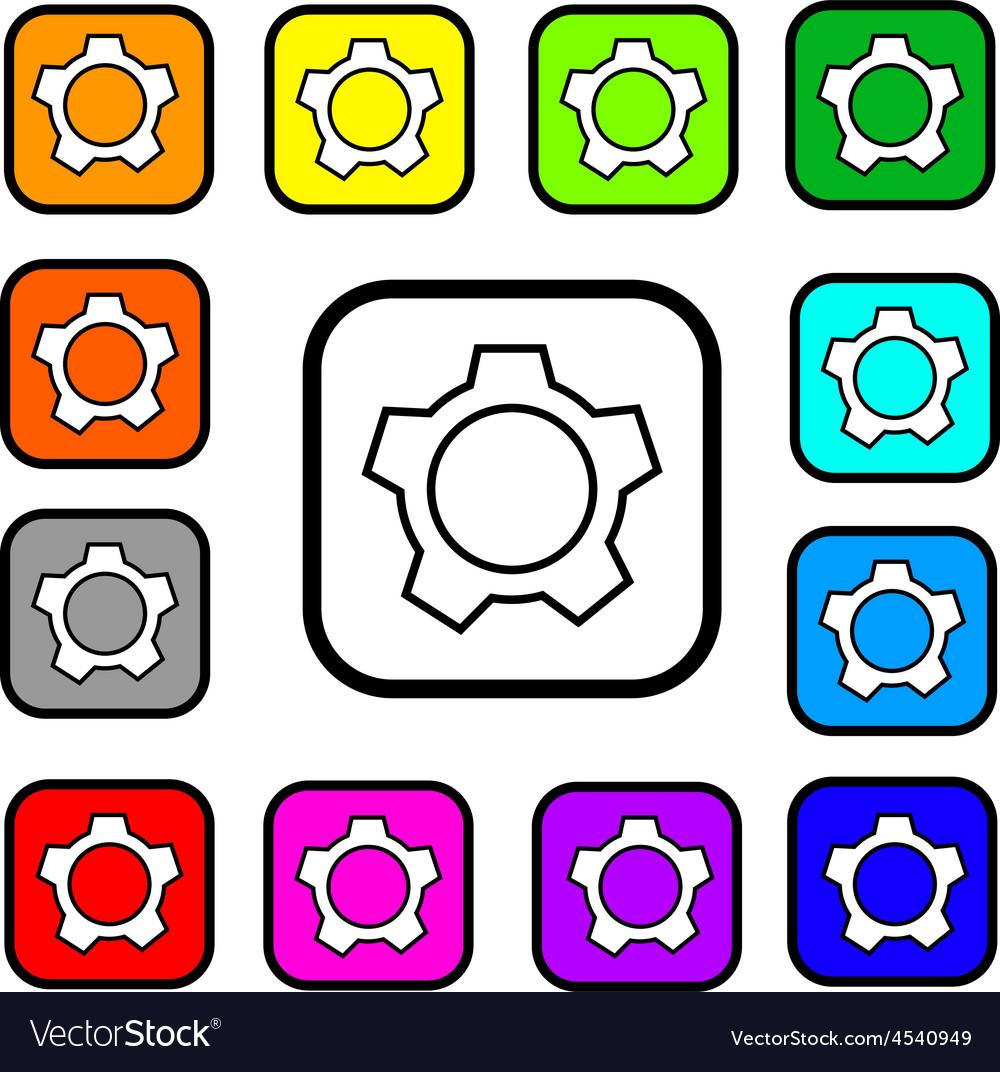 Settings button square icon vector | Price: 1 Credit (USD $1)