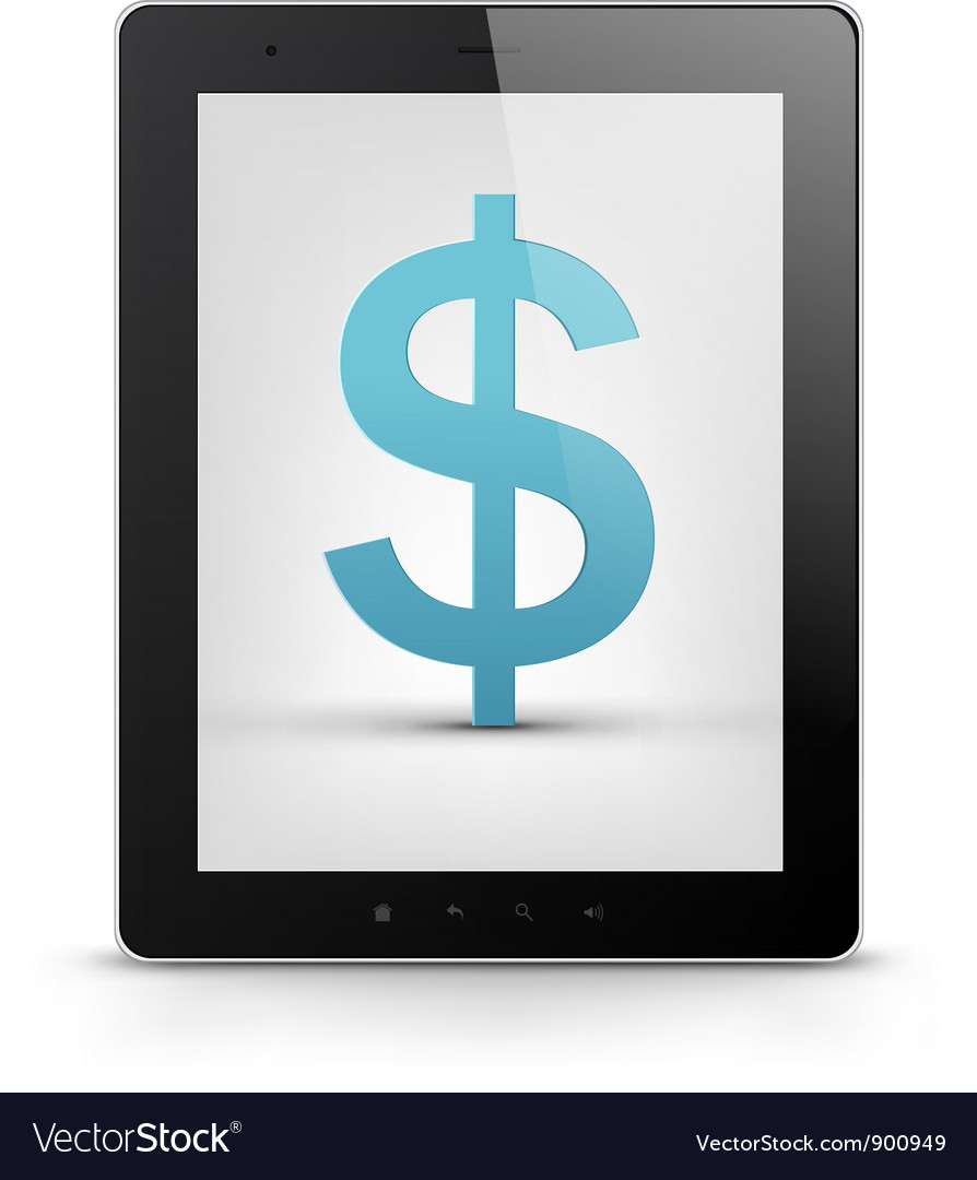 Tablet pc with money vector | Price: 1 Credit (USD $1)