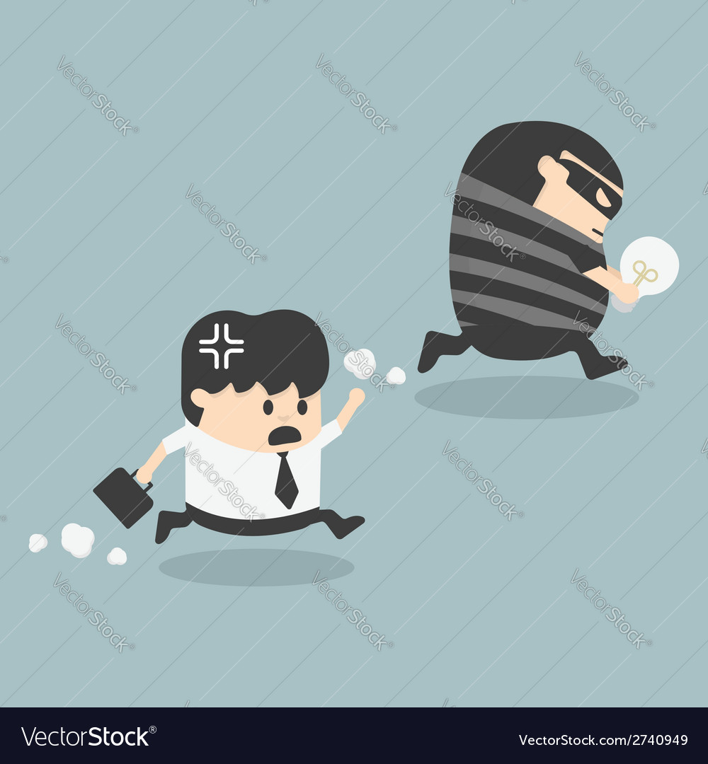 Thief stealing bulb from another businessman vector | Price: 1 Credit (USD $1)