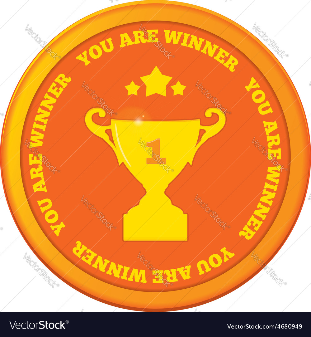 Winner badgechampions cup celebration greeting vector | Price: 1 Credit (USD $1)