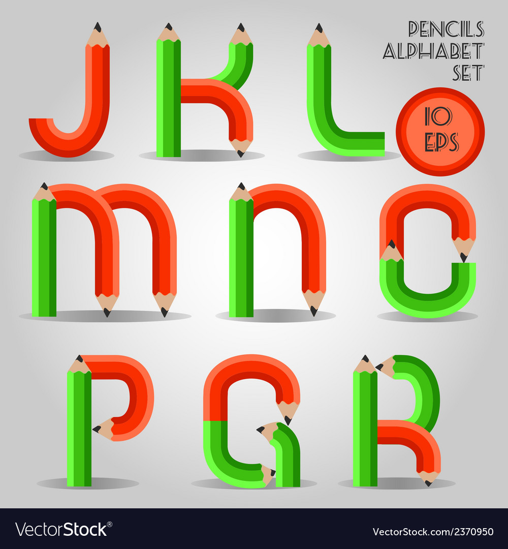 Alphabet in wooden pencil style red and green vector | Price: 1 Credit (USD $1)