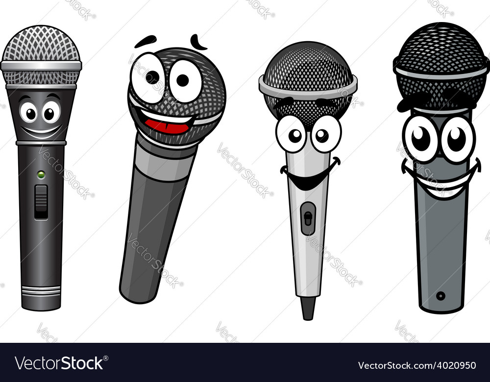 Cartoon happy wireless microphones characters vector | Price: 1 Credit (USD $1)