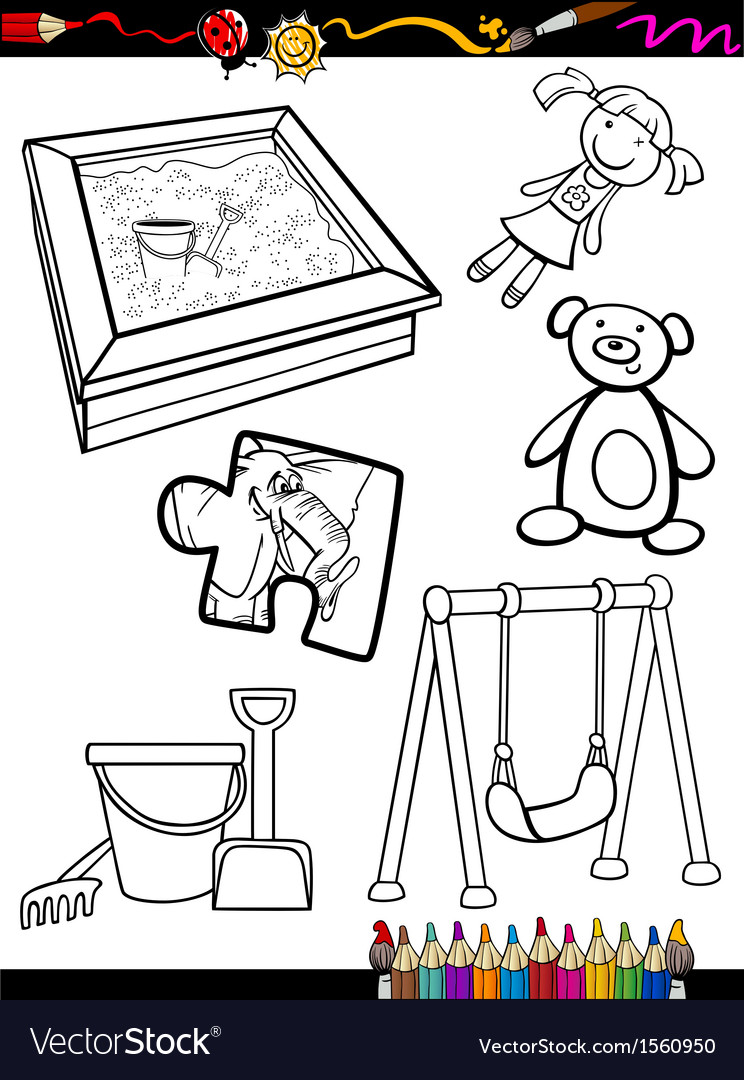 Cartoon toys objects coloring page vector   Price: 1 Credit (USD $1)